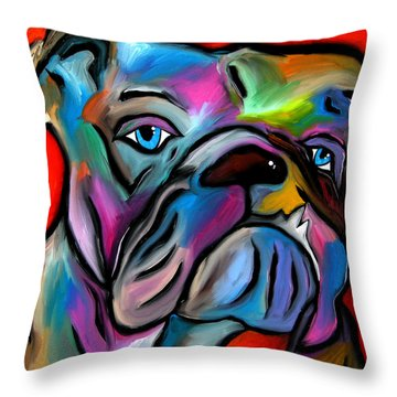 That's Bull - Abstract Dog Pop Art By Fidostudio Throw Pillow by Tom Fedro - Fidostudio