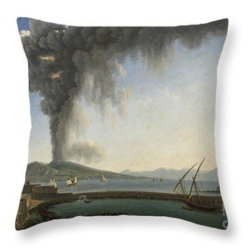 The 1813 Eruption Of Vesuvius Naples Throw Pillow