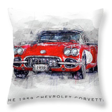 The 1959 Chevrolet Corvette Throw Pillow