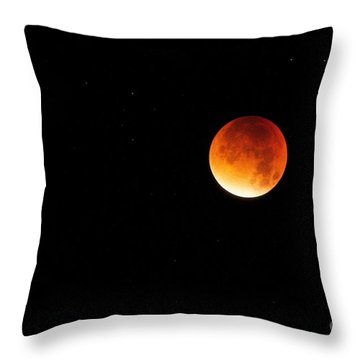 Throw Pillow featuring the photograph The 2015 Blood Moon  by Gary Bridger