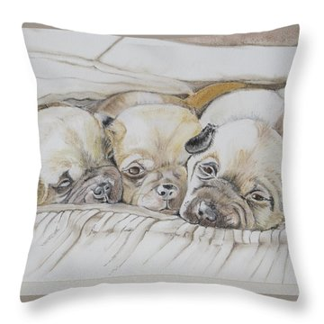 The 3 Puppies Throw Pillow