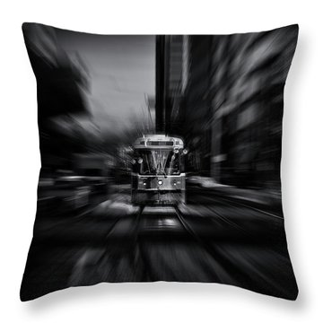 The 512 St. Clair Streetcar Toronto Canada Flow Throw Pillow by Brian Carson