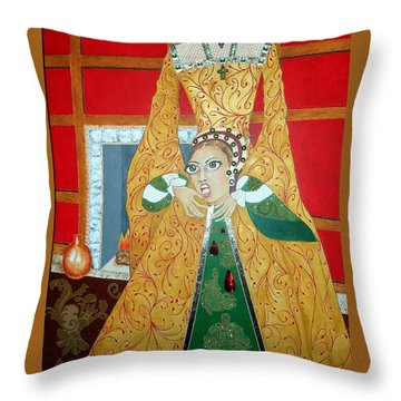 The 5th, Beheaded -- Tudor Portrait, Catherine Howard, #3 In Famous Flirts Series Throw Pillow