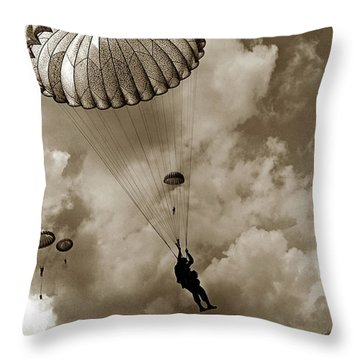 The 82nd Airborne  Hits The Silk Fort Ord 1953 Throw Pillow