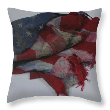 The 9 11 W T C Fallen Heros American Flag Throw Pillow