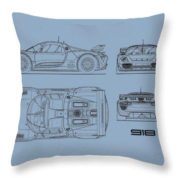 The 918 Spyder Blueprint Throw Pillow