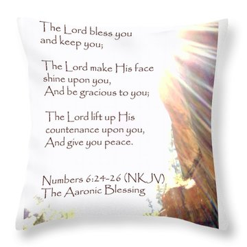 The Aaronic Blessing And True Light Lower Emerald Pools Zion Throw Pillow