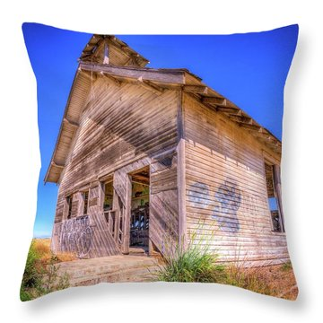 The Abandoned School House Throw Pillow