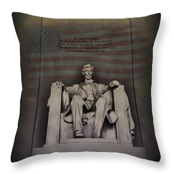 The Abraham Lincoln Memorial Throw Pillow by Bill Cannon