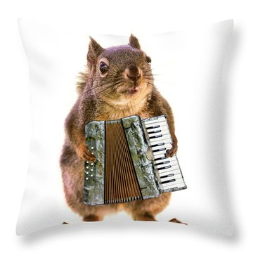The Accordion Player Throw Pillow