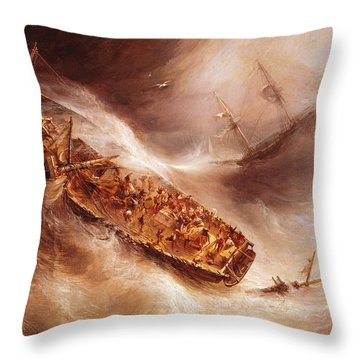 The Act Of Sacrifice Made By Captain Desse Towards The Dutch Ship Columbus Throw Pillow by Jean Antoine Theodore Gudin