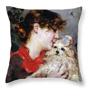The Actress Rejane And Her Dog Throw Pillow by Giovanni Boldini