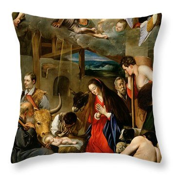 The Adoration Of The Shepherds Throw Pillow by Fray Juan Batista Maino or Mayno