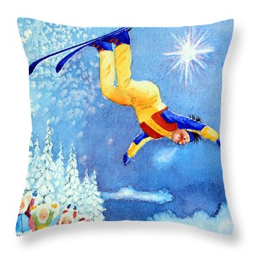 The Aerial Skier 18 Throw Pillow by Hanne Lore Koehler