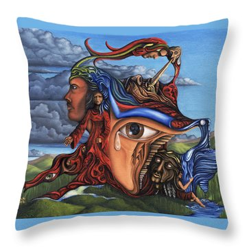 Throw Pillow featuring the painting The Aftermath by Karen Musick