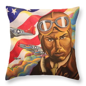 The Airman Throw Pillow by William Roby