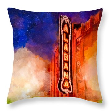 The Alabama Theatre By Night Throw Pillow