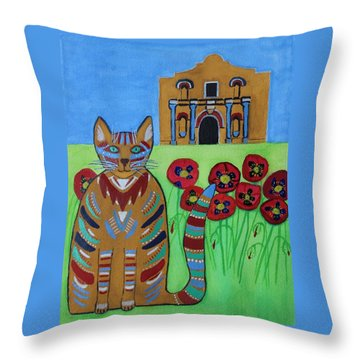 the Alamo Cat Throw Pillow