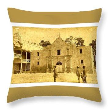 Throw Pillow featuring the photograph The Alamo San Antonio Texas Circa 1880 Albumen Photograph by Peter Gumaer Ogden