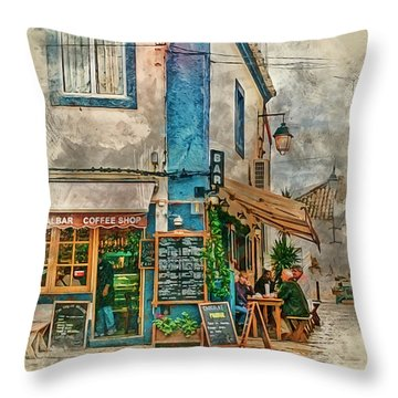 The Albar Coffee Shop In Alvor. Throw Pillow by Brian Tarr