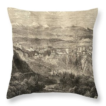 The Alhambra And General View Of Throw Pillow