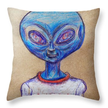 Throw Pillow featuring the drawing The Alien Is L-i-v-i-n by Similar Alien