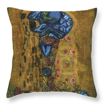 Throw Pillow featuring the painting The Alien Kiss By Blastoff Klimt by Similar Alien