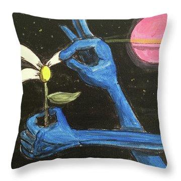 The Alien Loves Me... The Alien Loves Me Not Throw Pillow