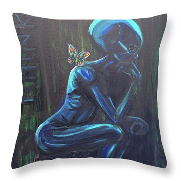 Throw Pillow featuring the painting The Alien Thinker by Similar Alien
