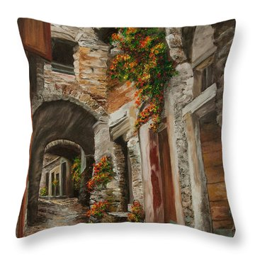 The Alleyway Throw Pillow by Charlotte Blanchard