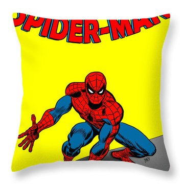 Throw Pillow featuring the painting The Amazing Spider-man by Antonio Romero