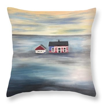 Throw Pillow featuring the painting The American Dream And Climate Change by Barbara Anna Knauf