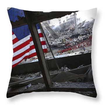 The American Flag Is Prominent Amongst Throw Pillow by Stocktrek Images