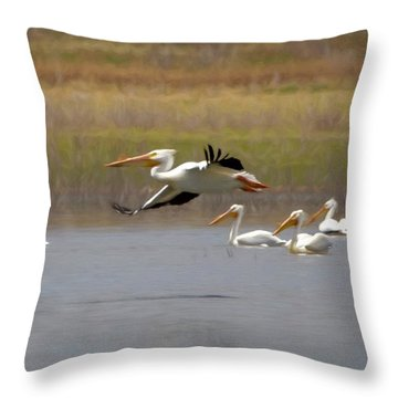The American White Pelicans Throw Pillow by Ernie Echols