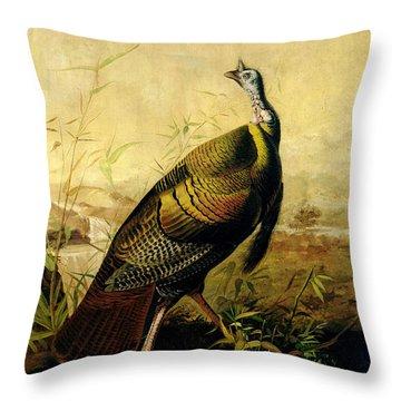 The American Wild Turkey Cock Throw Pillow by John James Audubon