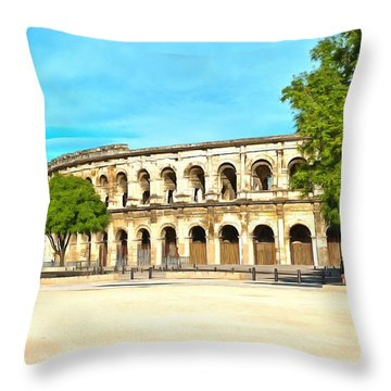 The Amphitheatre Nimes Throw Pillow by Scott Carruthers