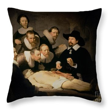 The Anatomy Lesson Of Doctor Nicolaes Tulp Throw Pillow by Rembrandt Harmenszoon van Rijn