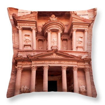 The Ancient Treasury Petra Throw Pillow by Jane Rix