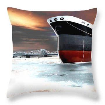 The Ship And The Steel Bridge. Throw Pillow