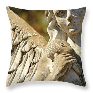 The Angel At St. Thomas Throw Pillow by Lynn Jordan