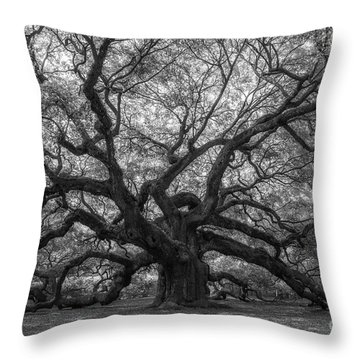 Throw Pillow featuring the photograph The Angel Oak Tree Bw  by Michael Ver Sprill