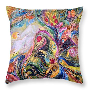 The Angel Of Flowers Throw Pillow by Elena Kotliarker