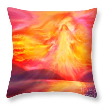 The Angel Of Protection Throw Pillow