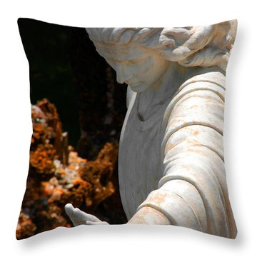 The Angels Warning Throw Pillow by Susanne Van Hulst