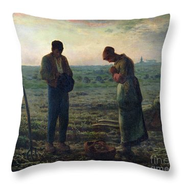The Angelus Throw Pillow by Jean-Francois Millet