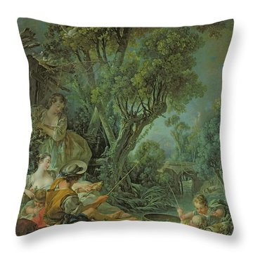 The Angler Throw Pillow by Francois Boucher