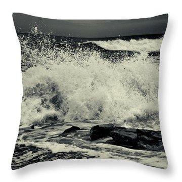 The Angry Sea Throw Pillow