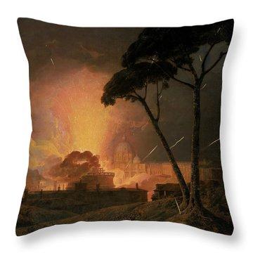 The Annual Girandola At The Castel Sant'angelo, Rome Throw Pillow