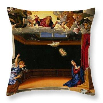 The Annunnciation Throw Pillow by Girolamo da Santacroce