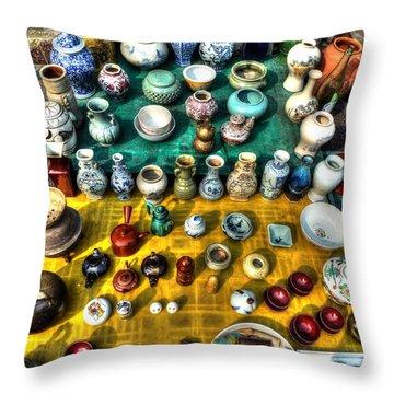 The Antique Market Throw Pillow by Michael Garyet